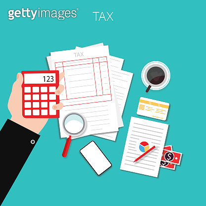 Tax calculation, accounting, paperwork concept. Top view. Flat vector illustration stock illustration