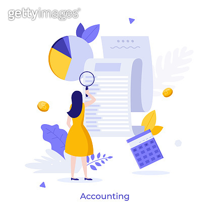 Woman looking through magnifying glass at bill, check or invoice. Concept of accounting and auditing service for business, budget planning, revenue calculation. Modern flat colorful vector illustration.