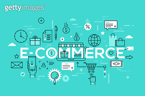 E-commerce, online shopping and retail, electronic shops, internet of things concept