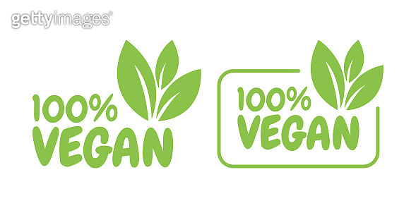 Vegan friendly, Ecology, Organic logo and icon, label, tag. Green leaf icon on white background. Vegan illustration.