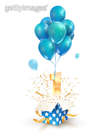 Open textured gift box with number 1 flying on balloons. Greeting for First anniversary isolated vector design elements