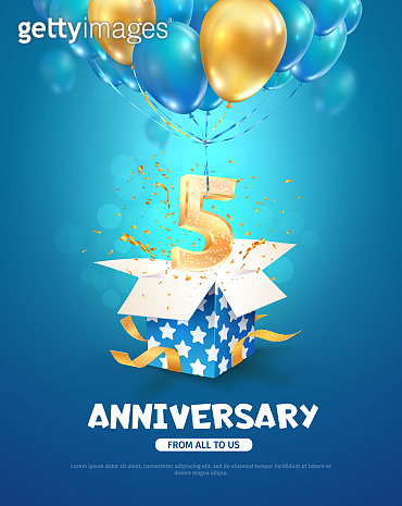 Celebration of 5 th years birthday vector 3d illustration. Fifth years anniversary celebrating. Open gift box with number five flying on balloons on blue background