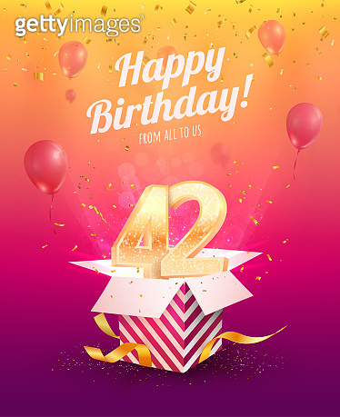 Celebrating 42 nd years birthday vector illustration. Forty two anniversary celebration invitation card. Adult birth day. Open gift box with numbers two and four flying
