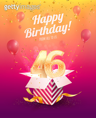 Celebrating 46th years birthday vector illustration. Forty-six anniversary celebration invitation card. Adult birth day. Open gift box with  flying holiday numbers