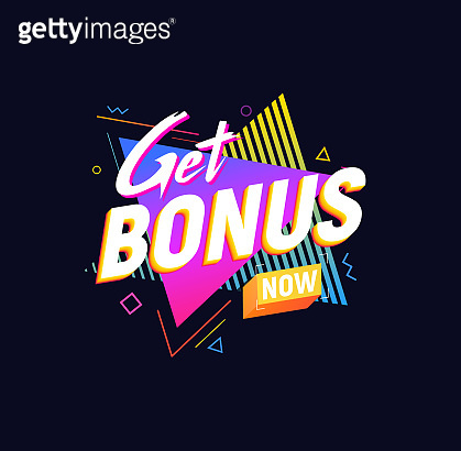 Get Bonus Now isolated vector icon 90s retro style design. Web gift label on dark background. Promotion sign