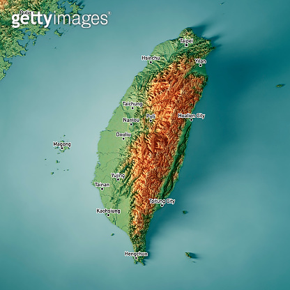 Taiwan 3D Render Topographic Map Color Cities