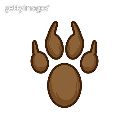Paw print set. Paw foot trail print of animal. brown color flat icon