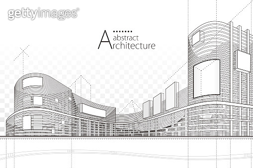 Abstract Architecture Building Line Drawing.