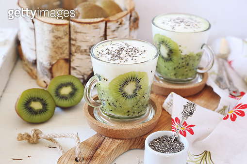 Healthy breakfast: yogurt, kiwi and Chia seeds