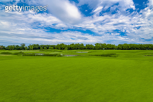 Beautiful golf course in green park at Mezhgorye residence, Ukraine