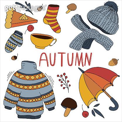 warm and cozy set of autumn items - clothes, umbrella, tea, pie, mushrooms, vector set of elements, color doodles