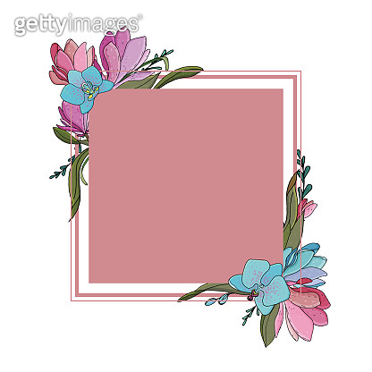 vector botanical template for greeting card or invitation, delicate pink square with a frame with a wreath of colored orchids and magnolias