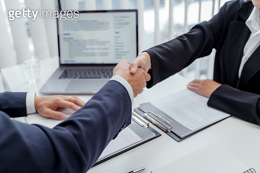 Recruitment concept, Job interviewer hand shake with candidate for job seeker.