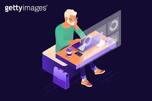 Young finance market analyst in eyeglasses working at sunny office on laptop while sitting at wooden table.Data analysis, and office situations. Landing page template. Isometric illustration