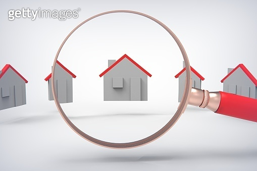 3d rendering Concept of rent, search, purchase real estate. stock photo