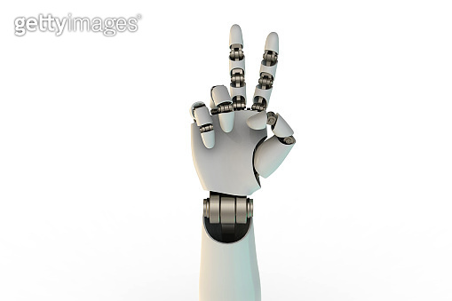 3d rendering robotic hand peace sign. stock photo