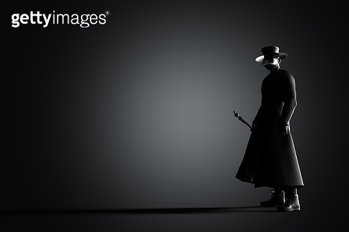 3D rendering plague doctor with bird mask and hat stock photo