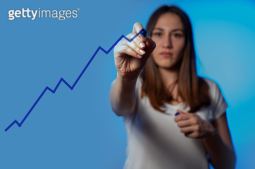 Growth success concept. plan and increase of positive indicators in his business. stock photo