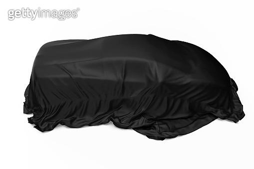 3d black color fabric, Covered Sport Car isolated on white background, New car presentation stock photo
