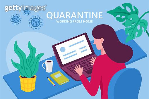 Coronavirus quarantine concept. Working from home. Woman working on laptop. Flat cartoon vector illustration