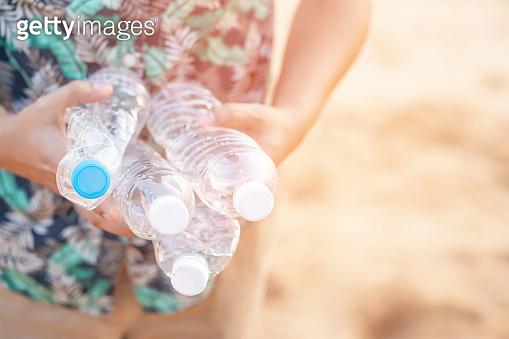 Garbage bottles in the sea