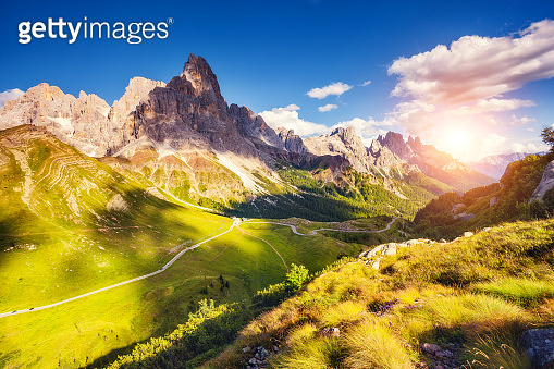Majestic view of the Cimon della Pala with passo Rolle. National Park Paneveggio. Dolomites, South Tyrol, Italy, Europe.