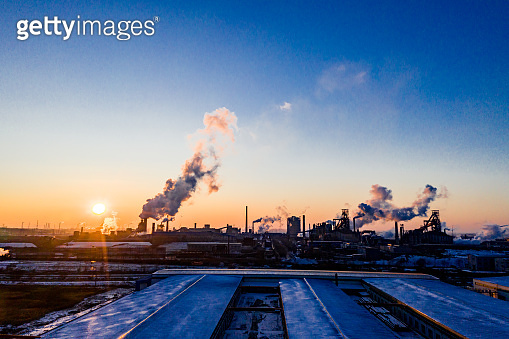 Industrial area sunset in winter