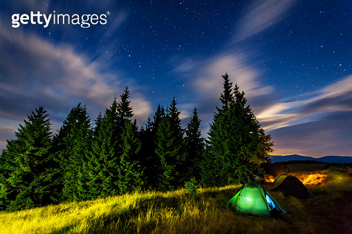 Tourist camp in a mountains. Carpathian, Ukraine, Europe.