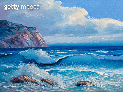Painting seascape. Sea blue wave.