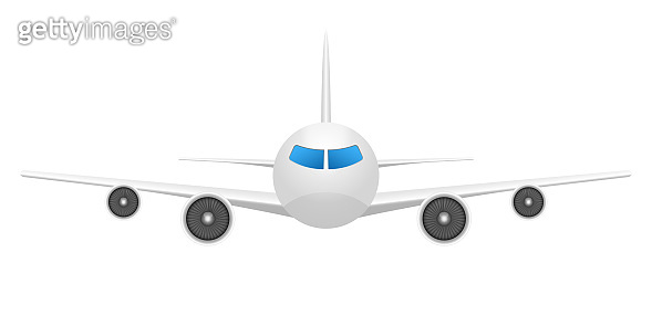 Airplane front view vector design illustration isolated on background