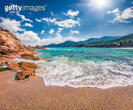 Azure summer seascape of Aegean Sea. Beautiful marine landscape of Cuba Beach, Olimpiada village location, Greece, Europe. Beauty of nature concept background.