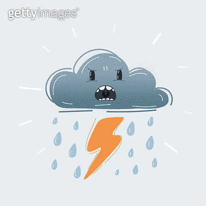 Vector illustration of weather icon storm cloud with angry face