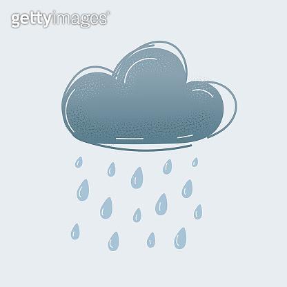 Vector illustration of raining grey cloud on white