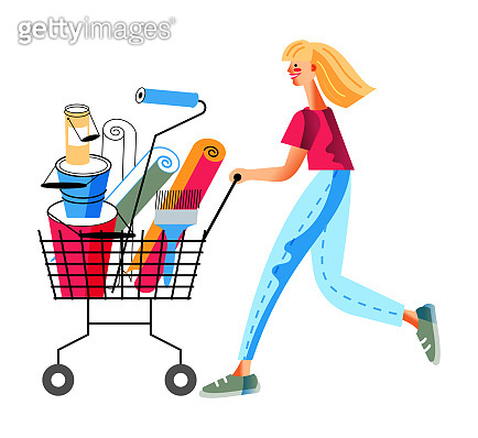 Vector character woman push cart in hardware store