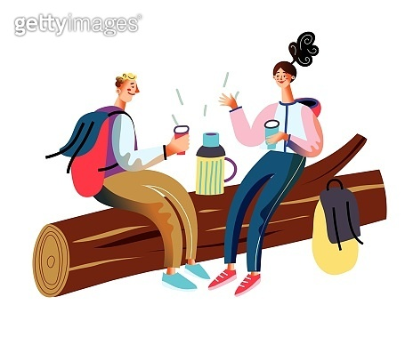 People traveling on adventure, sitting and resting. Couple trekking with backpacks. Tourist outdoor scene vector illustration. Sitting together and drinking hot tea