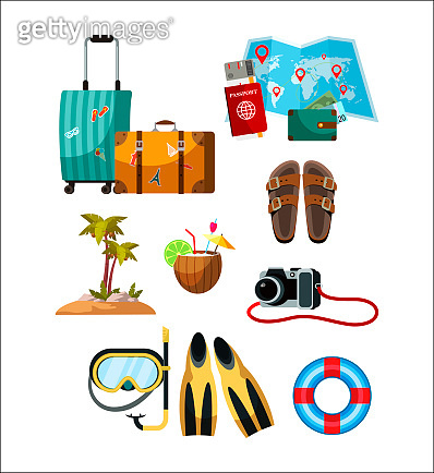 Touristic accessory and attributes set on white