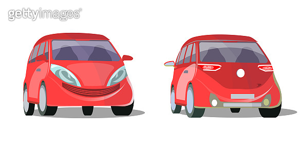 Modern red car standing in front and back view isolated
