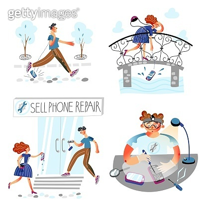 People go to cellphone repair service scene set