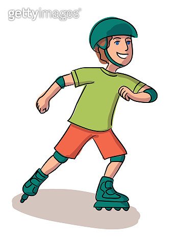 Happy boy roller skating isolated on white background
