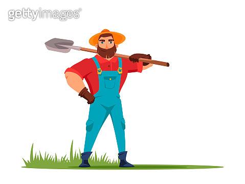 Male farmer holding shovel in hand illustration
