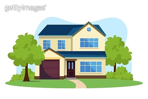 Modern front of house vector illustration