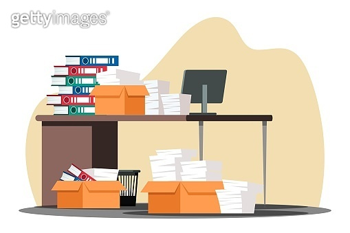 Stressful paperwork blockage at work in office