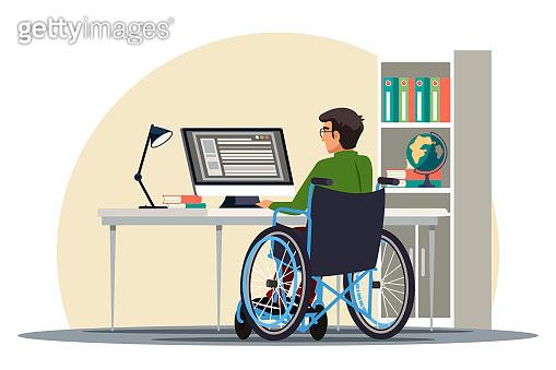 Vector Illustration disabilities people scene set