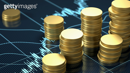 Coin Stacks On Blue Financial Chart Graph with Selective Focus
