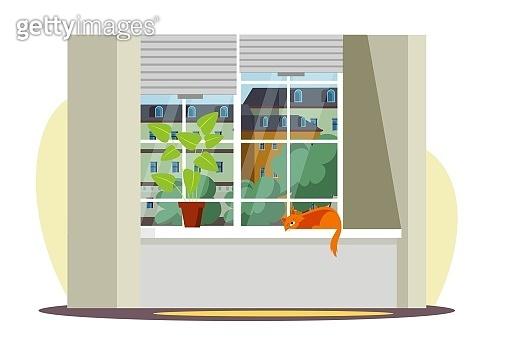 Large window with city view, cute cat sleeps on windowsill