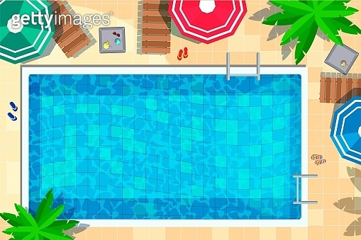 Vector hotel swimming pool rest accessory top view