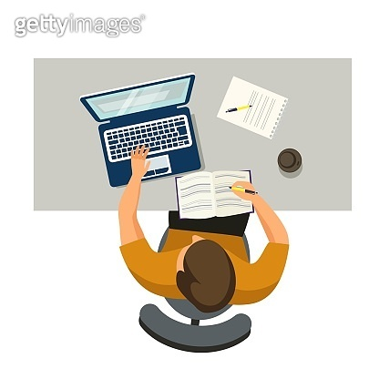 Man working in workspace. Male studying at desk with laptops and books in university campus, cafe or office workplace. Business interior design vector illustration