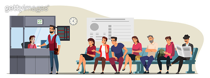 Vector character illustration bus ticket counter