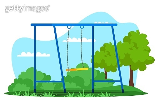 Empty swing on playground in natural green park