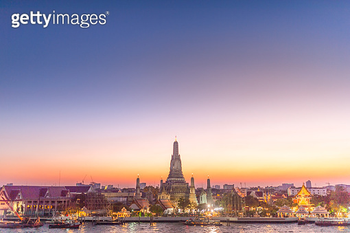 Panoramic view most famsus Landmark of bangkok Temple of Wat Arun in Bangkok and chaopraya Thailand